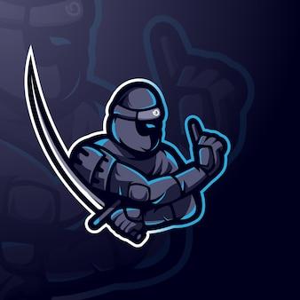 Ninja met zwaard voor gaming, team of sport