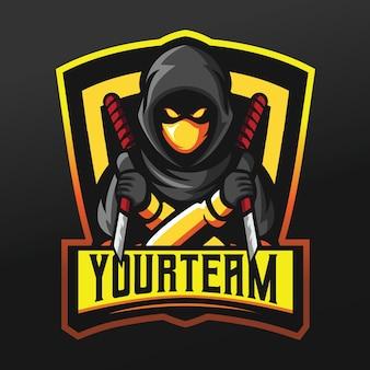 Ninja-moordenaar met mesmascotte sportillustratie voor logo esport gaming team squad