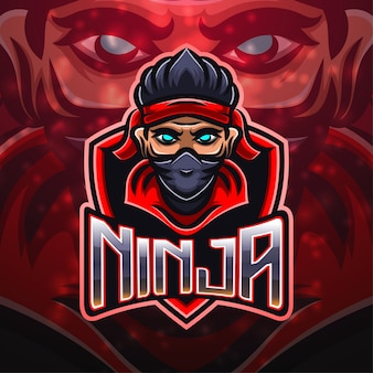 Ninja sport mascotte logo ontwerp