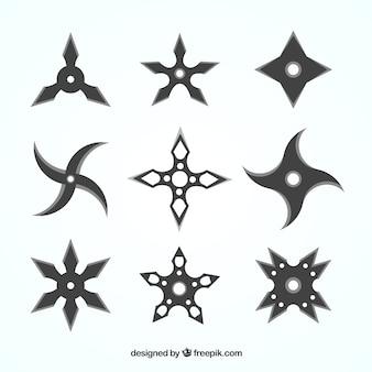 Ninja-sterrencollectie met plat ontwerp