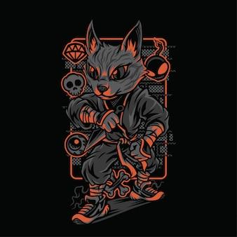 Ninja stijl kattenrassen illustratie