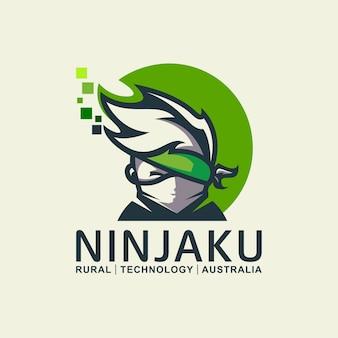 Ninja tech logo-ontwerp voor technologie