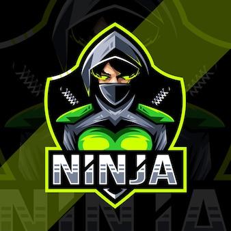 Ninja vrouwen mascotte logo esport ontwerp