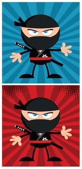 Ninja warrior cartoon karakter in moderne platte ontwerp