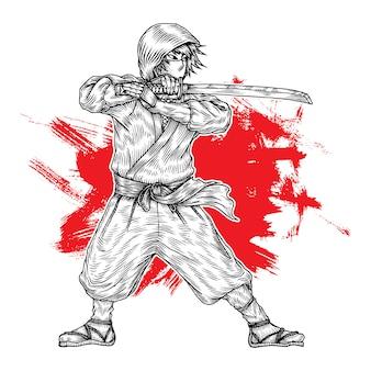 Ninja warrior, hand getrokken illustratie