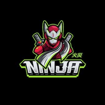 Ninja zwaard karakter gaming logo mascotte