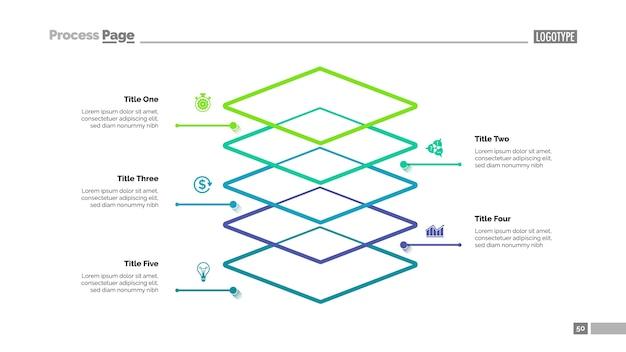 Niveau diagram met vijf elementen sjabloon