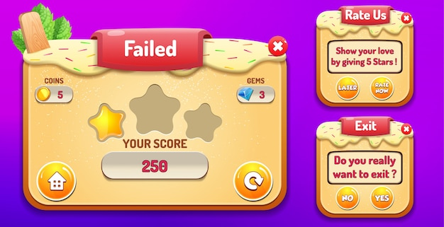 Niveau mislukt, ons beoordelen en het menu exit wordt weergegeven met de score van sterren en de knoppen gui