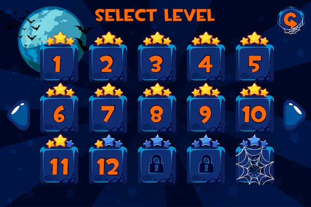 Niveau selectie scherm. game ui ingesteld op de halloween-achtergrond