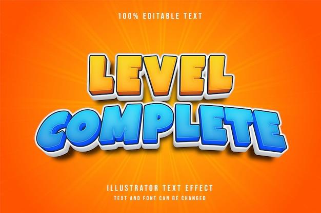 Niveau voltooid, 3d bewerkbaar teksteffect geel-blauw komische spelstijl