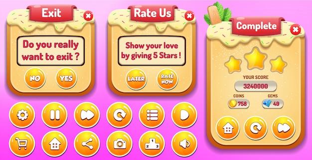 Niveau voltooid, beoordeel ons en exit menu verschijnen met sterren score en knoppen gui