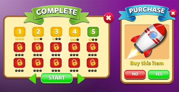 Niveauselectie en aankoop menu verschijnen met sterren score en knoppen gui