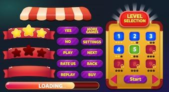 Niveauselectie gamemenu-scène met gameknoppen, balk laden en sterren verliezen