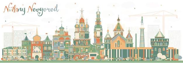 Nizjni novgorod rusland city skyline met kleur gebouwen. vectorillustratie. zakelijk reizen en toerisme concept met historische architectuur. nizjni novgorod stadsgezicht met monumenten.