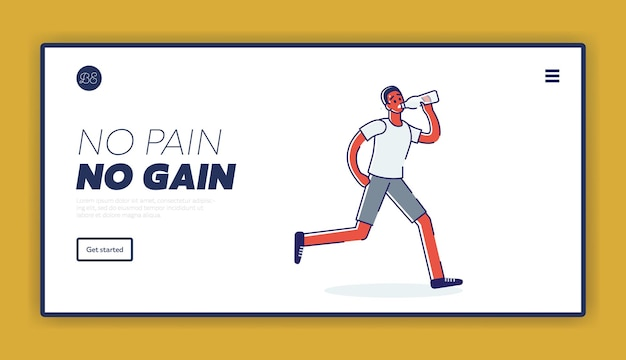 No pain no gain bestemmingspagina concept met atleet die moe en uitgeput raakt
