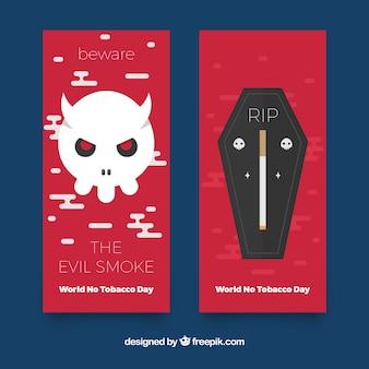 No tobacco day banners met schedel en het graf