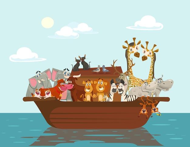Noah ark, platte cartoon afbeelding