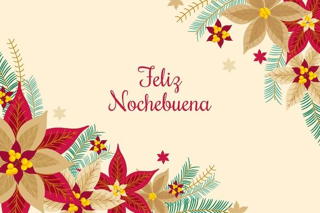 Nochebuena achtergrond in plat ontwerp