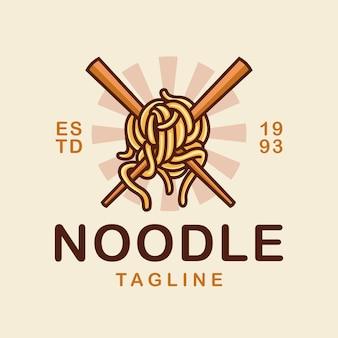 Noedel en eetstokje logo vectorillustratie