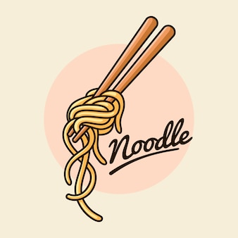 Noedels met chopstick illustratie