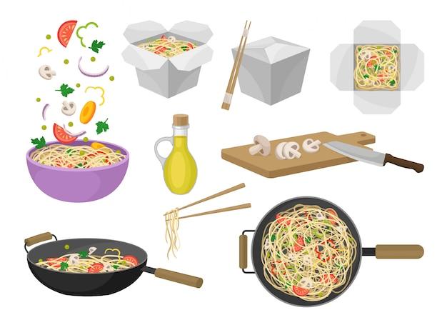 Noedels traditionele oosterse gerechten. illustratie.