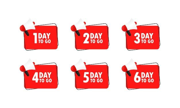 Nog 1 dag te gaan. megafoon met 1, 2, 3, 4, 5, 6 dagen te gaan bericht in bellentoespraak. luidspreker. aankondiging.