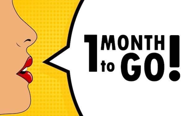 Nog 1 maand te gaan. vrouwelijke mond met rode lippenstift schreeuwen. tekstballon met tekst nog 1 maand te gaan. kan worden gebruikt voor zaken, marketing en reclame. vectoreps 10.