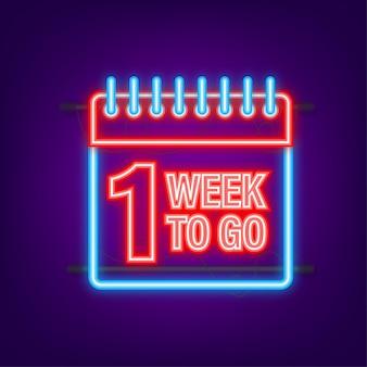 Nog 1 week te gaan. neon stijlicoon. vector typografisch ontwerp. vector voorraad illustratie.