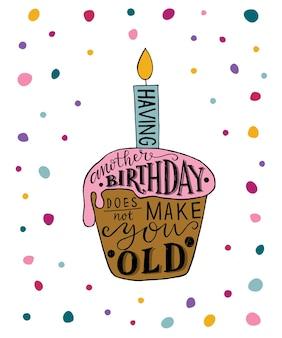 Nog een verjaardag hebben maakt je geen oude tekst met cupcake en kaars als verjaardagslogotype badg