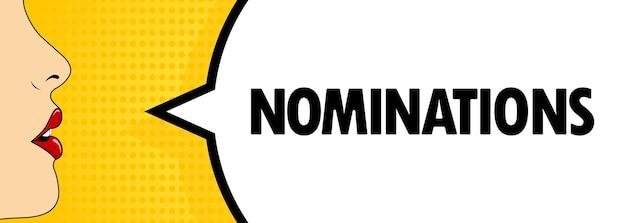 Nominaties. vrouwelijke mond met rode lippenstift schreeuwen. tekstballon met tekst nominaties. retro komische stijl. kan worden gebruikt voor zaken, marketing en reclame. vectoreps 10.