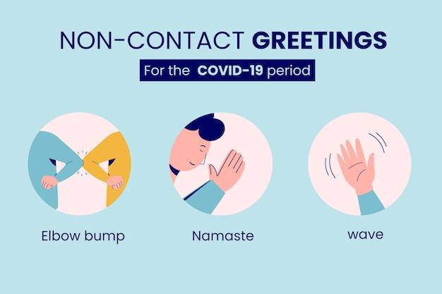 Non-contact groeten pandemie