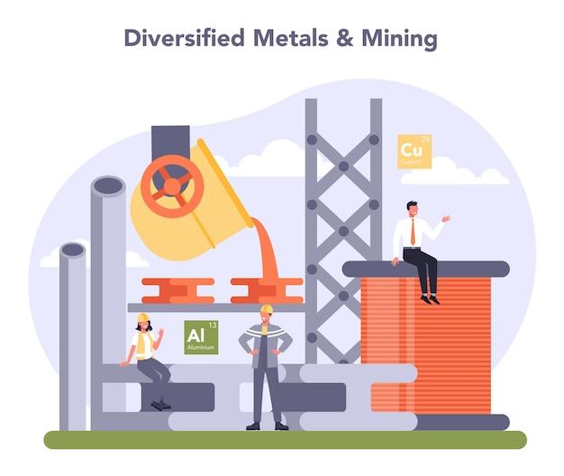Non-ferro metalen en mijnbouw. productieproces van staal of metaal.