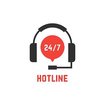 Non-stop hotline-ondersteuning met koptelefoon. concept van telemarketing, professional, secretaresse, live feedback. geïsoleerd op een witte achtergrond. vlakke stijl trend moderne logo ontwerp vectorillustratie