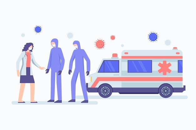 Nood ambulance met artsen en patiënt geïllustreerd