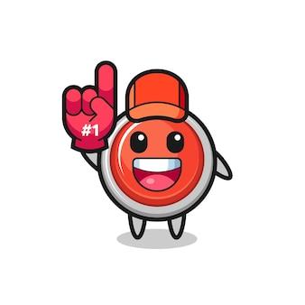 Nood paniekknop illustratie cartoon met nummer 1 fans handschoen, schattig ontwerp