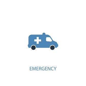 Noodconcept 2 gekleurd icoon. eenvoudige blauwe elementenillustratie. nood concept symbool ontwerp. kan worden gebruikt voor web- en mobiele ui/ux