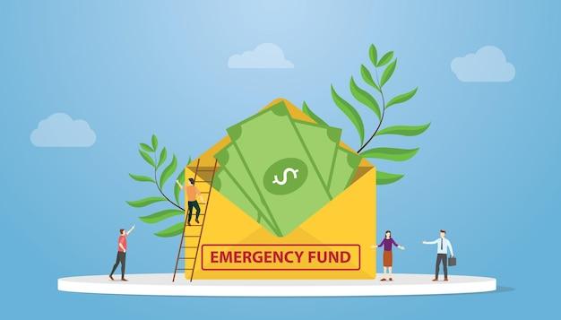 Noodfonds met geld op envelop met mensen bespreken met moderne flat
