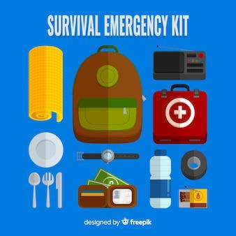 Noodgevallen overlevingskit met plat ontwerp