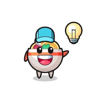 Noodle bowl karakter cartoon krijgt het idee, schattig stijlontwerp voor t-shirt, sticker, logo-element