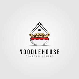 Noodle huis voedsel logo symbool illustratie