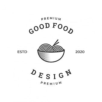 Noodle logo voor restaurant ontwerpsjabloon