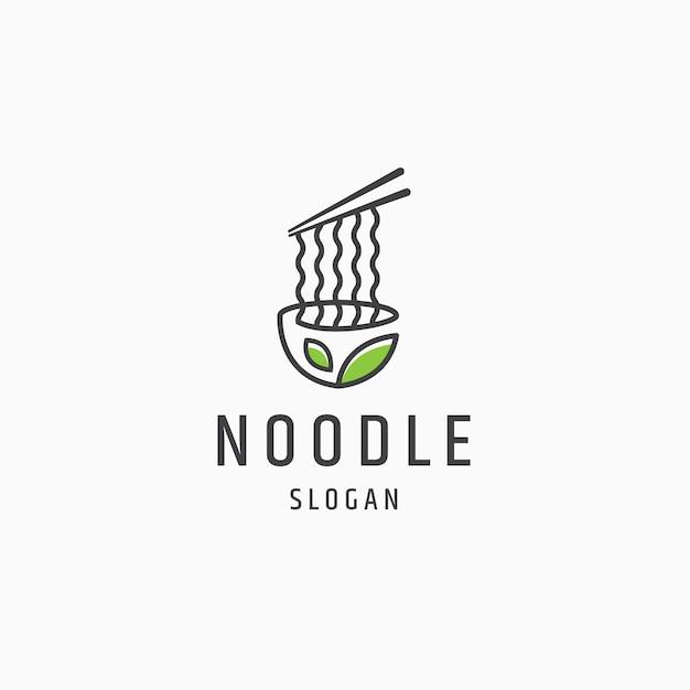 Noodle natuur veganistisch eten logo pictogram ontwerp platte sjabloon vectorillustratie