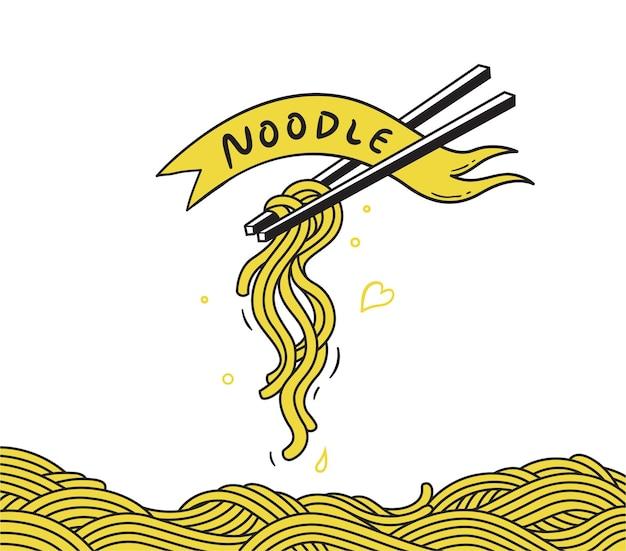 Noodle ramen spagehetti pasta handgetekende vector