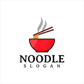 Noodle restaurant en eten logo ontwerpsjabloon