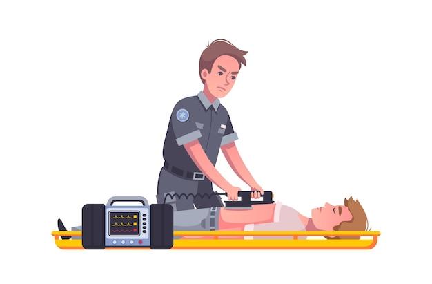 Noodsituatie cartoon afbeelding met mannelijke paramedicus met behulp van defibrillator