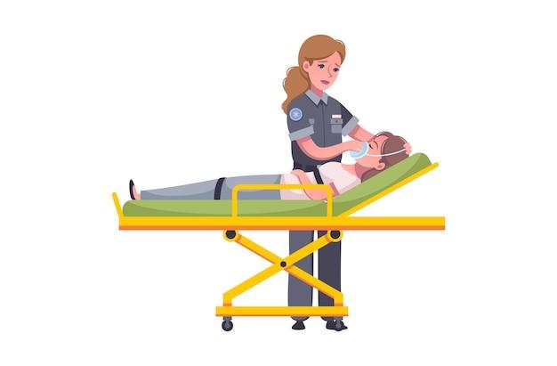 Noodsituatie paramedicus cartoon afbeelding met vrouwelijke arts die gewonde vrouw helpt