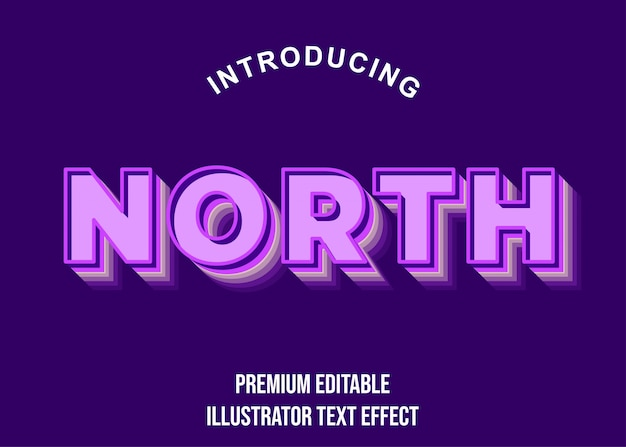 Noord - 3d paarse teksteffect letterstijl