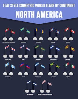 Noord-amerika land vlakke stijl isometrische vlaggen
