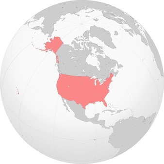 Noord-amerika met kaart van de vs op de wereldbol