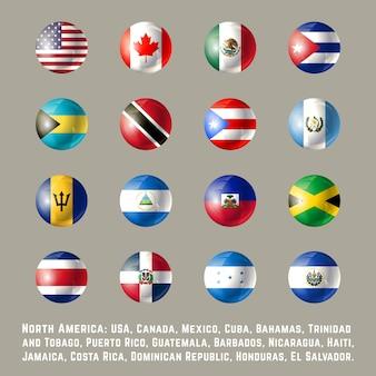 Noord-amerika rond vlaggen